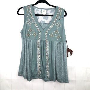 Knox Rose Embroidered Teal Blouse NWT